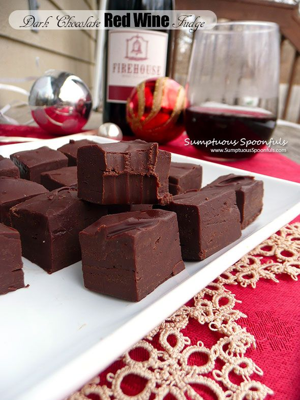 Dark Chocolate Red Wine Fudge ~ Sumptuous Spoonfuls #easy #chocolate #wine…
