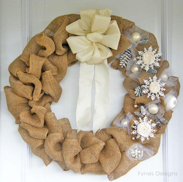 Elegant Burlap and Snowflake Wreath