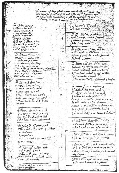 William Bradford's handwritten passenger list ('Of Plymouth Plantation 1620-1947')