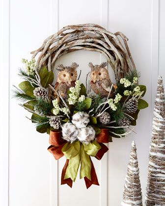 "Woodland 28"" Christmas Wreath at Horchow 