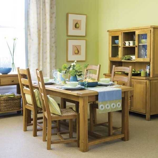 Dining Room Decorating With Green Wall Paint And Blue Table Runner