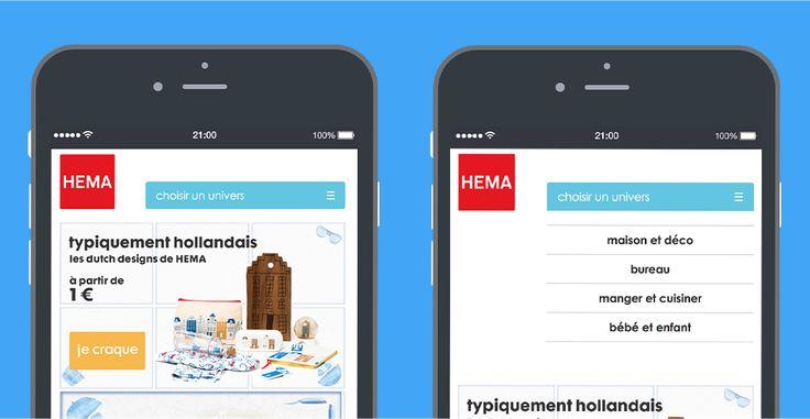 Newsletter responsive Hema : menu hamburger dans un emailing ou une newsletter.