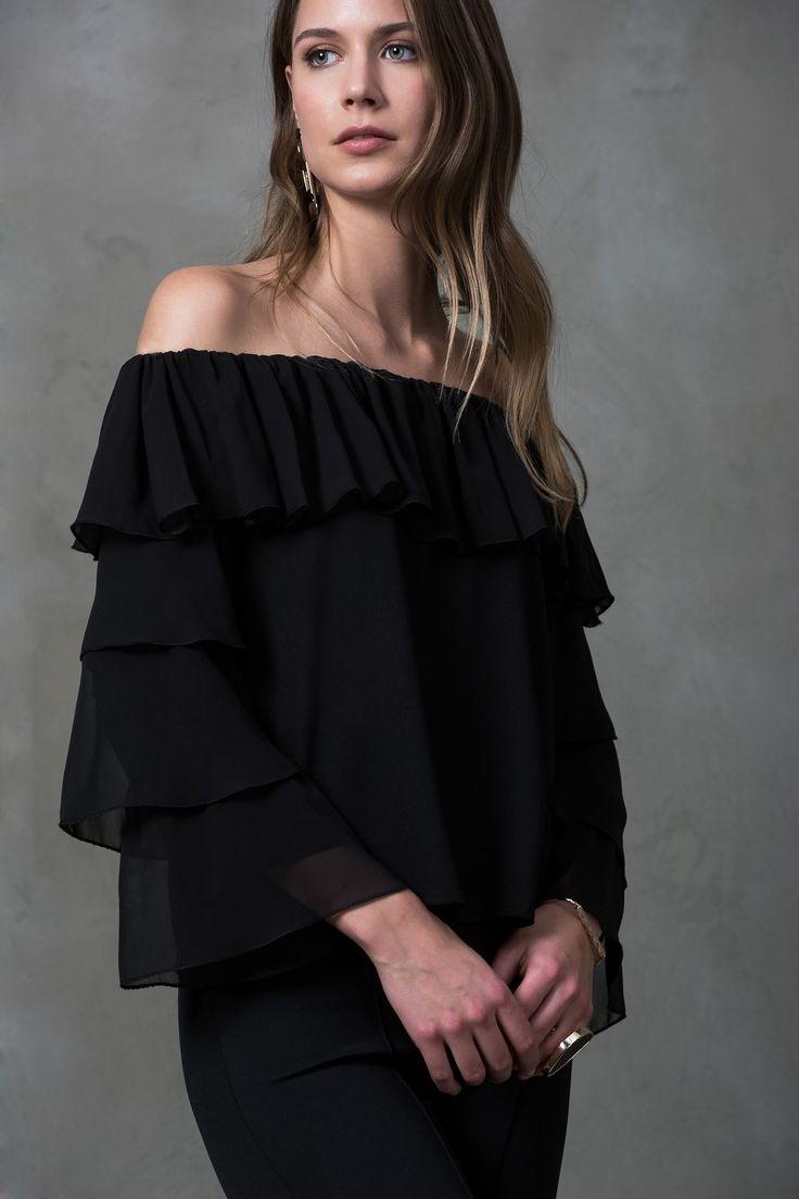 Fırfır Detaylı Siyah Bluz MLWSS16DG1036 TRENDYOLMİLLA   Trendyol