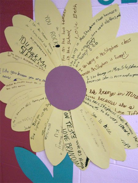 Folded card like petals so the kids writing is on the inside...thank you for helping us grow
