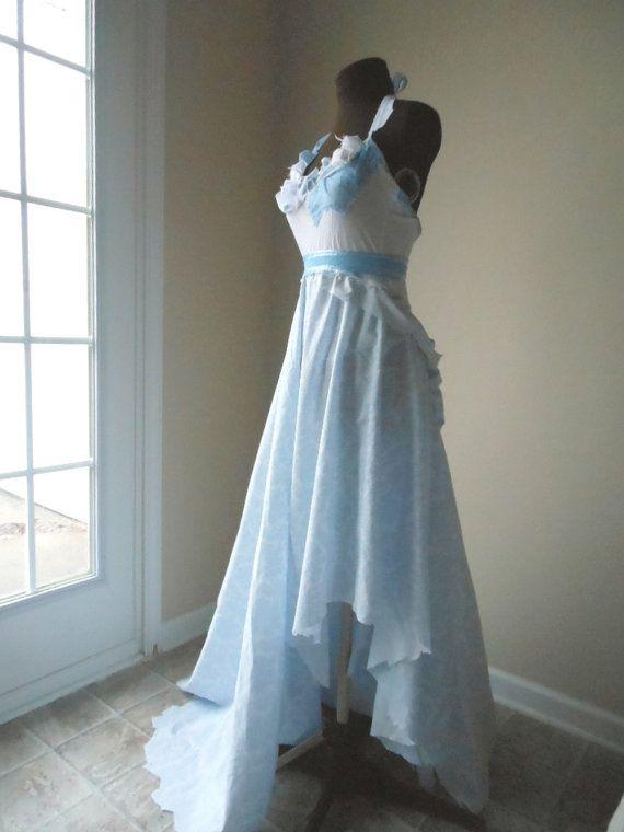 Fairytale Wedding Dress Hippie Boho Blue Romantic Shabby Chic Beach Bridal Gown Faerie Pixie Fantasy Cotton One Of A Kind Bride Handmade