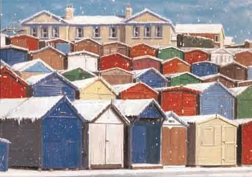 """Beach Huts - Frinton. 125 x 175mm. £4.50. All cards come in packs of 10.  Greeting in cards: """"With Best Wishes for Christmas and the New Year."""""""