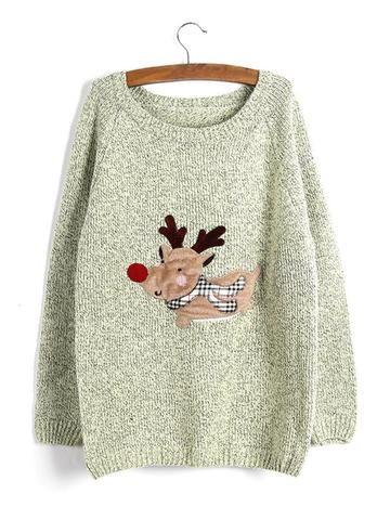 Women Christmas Cartoon Printed Long Sleeve Pullover Knit Sweater