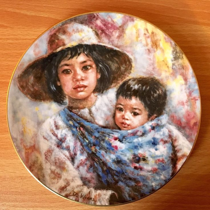 Royal Doulton 'Sisterly Love' Limited Ed Plate 1984 Edna Hibel Mint Condition