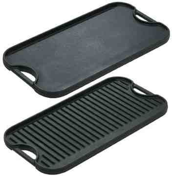 Lodge Logic double-sided cast iron griddle - I use this more than anything else in my kitchen.  Couldn't live without it!
