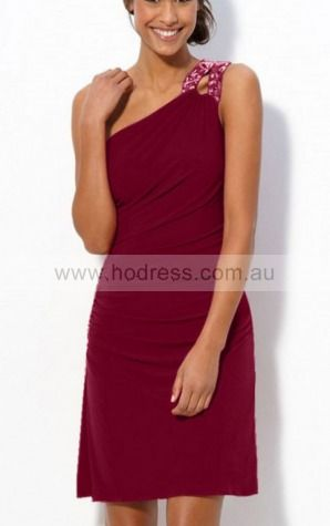 Sheath One Shoulder Knee-length Satin Natural Evening Dresses gt1712--Hodress