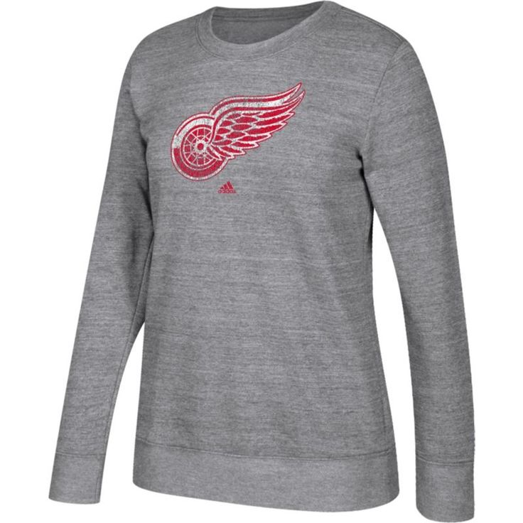 adidas Women's Detroit Red Wings Distressed Logo Heather Grey Sweatshirt, Size: Medium, Team