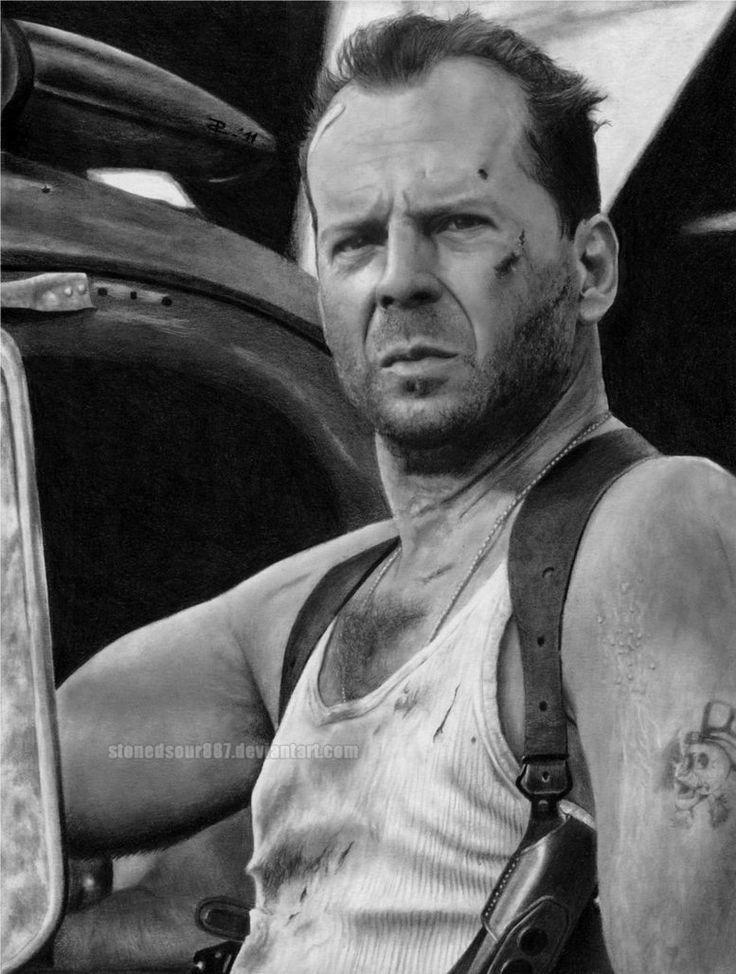 Bruce Willis by ~stonedsour887 on deviantART Bristol 24x32 200g / m² Crayons mécaniques B, H Crayons ordinaires 2H - 8B Eraser pétrissable Eraser régulière Tortillon Tissu