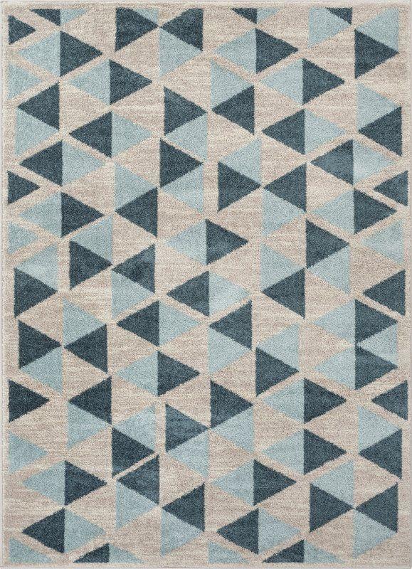Mystic Modern Vintage Geometric Blue Gray Area Rug Mid Century