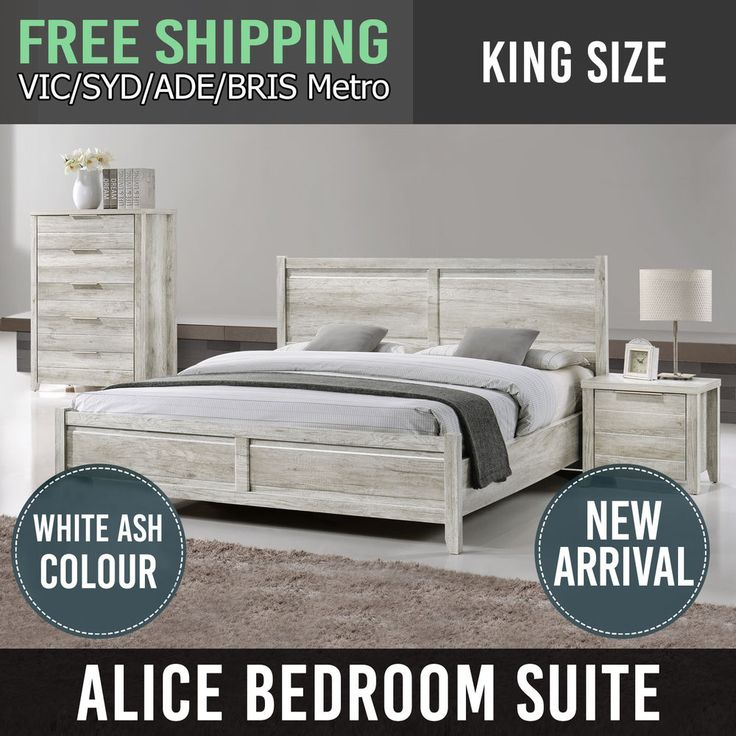 Bedroom Suite King Size MDF Aesthetic Strong Legs White Ash Flat Pack 4Pcs Alice