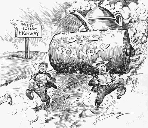 cartoon 1921 Teapot Dome scandal in the US was a negative influence in the 1920s. The reserve scandal began with the administration of President Harding. He reserves the main oil in the Teapot Domes and sold it to two other oil companies with a low rates without competitive bidding.