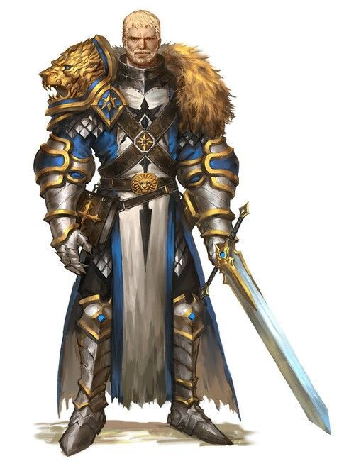 Human Male Paladin Knight - Pathfinder PFRPG DND D&D d20 fantasy