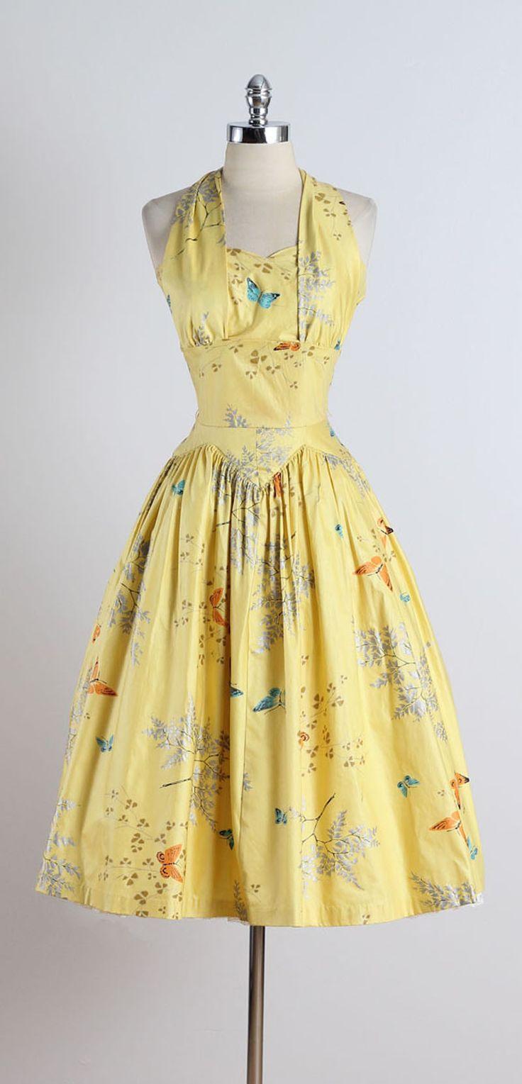 Vintage 1950s Butterfly Print Halter Dress