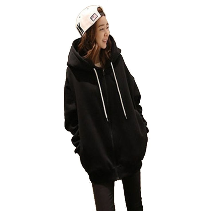 Causal Women Hoodies With Hat Solid Full Long Sweatshirts For Girls hoodie sudaderas mujer moleton feminina Black Silver 908 #Affiliate