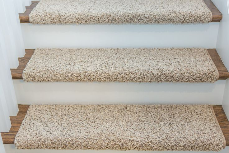 "WINDSOR Adhesive Bullnose Carpet Stair Tread with Padding, 27"" W x 10"" D, Beige - by Castle Range"