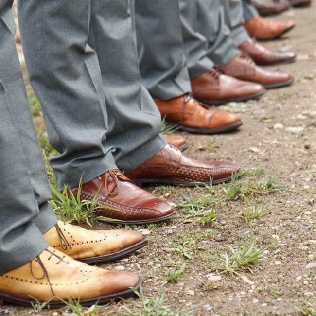 bohemian utah Weddings | The groomsmen paired their casual gray suits with brown leather dress ...