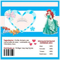 La Sirenita: Etiquetas de Chocolate para Imprimir Gratis.