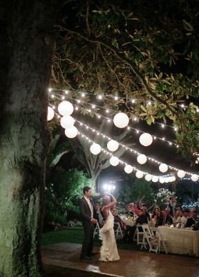 A mix of fairylights and chinese lantern lights for the tent