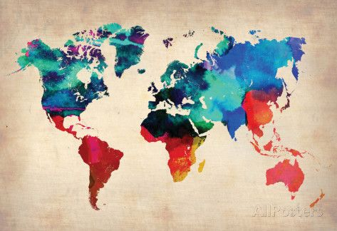 World Watercolor Map 1 - Bilder på AllPosters.se