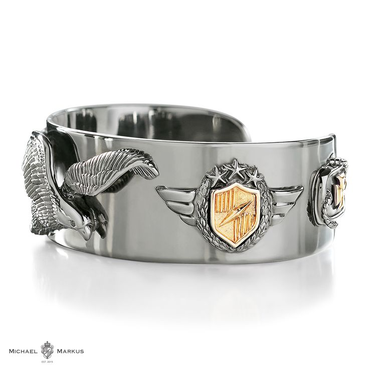 AQUILA - The eagle sees no limits and reaches for the sky - 925 sterling silver cuff | 18k white and yellow gold elements | black diamond accents | selected black rhodium plating