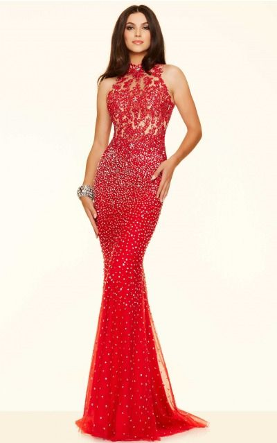 Sheath High Neck Empire Sleeveless Floor-length Prom Dresses