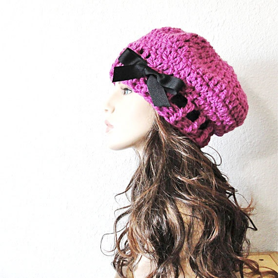 5cdfcb85dae Items similar to Fuchsia Pink Beret Hand Crocheted Slouchy Hat with Black  Grosgrain Ribbon.