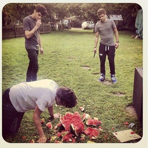 Harry, Liam, and Zayn playing real life fruit ninja!! Hahahaha