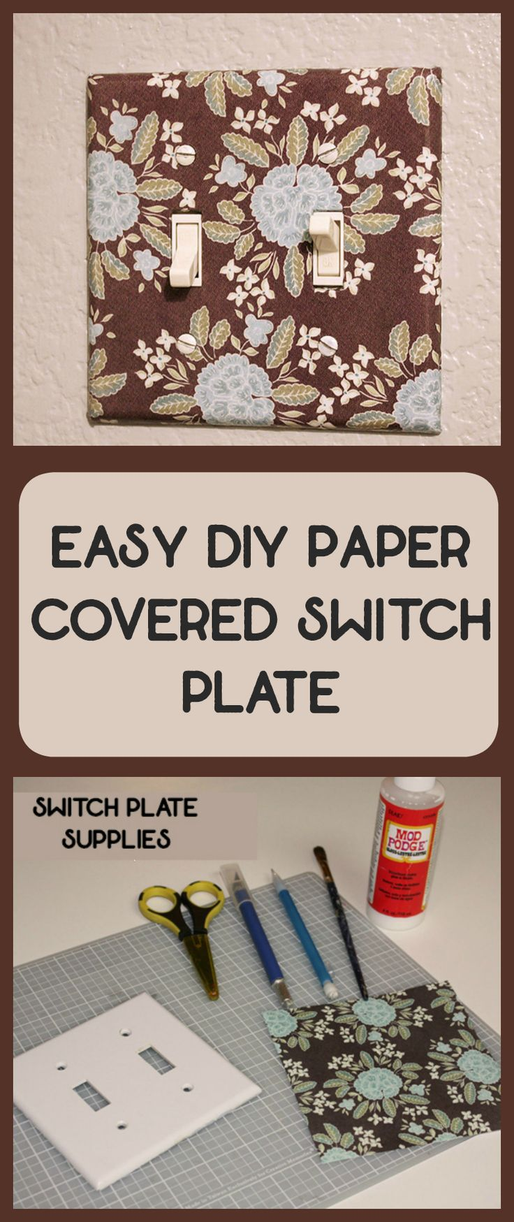 DIY paper covered switch plate tutorial. How to use your favorite paper to make your own swtich plate.  A great DIY home decor project for customizing any room #diy #diyhome #homedecor #crafts