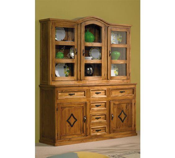 Aparador r stico con vitrina acristalada puertas y - Muebles rusticos de madera ...