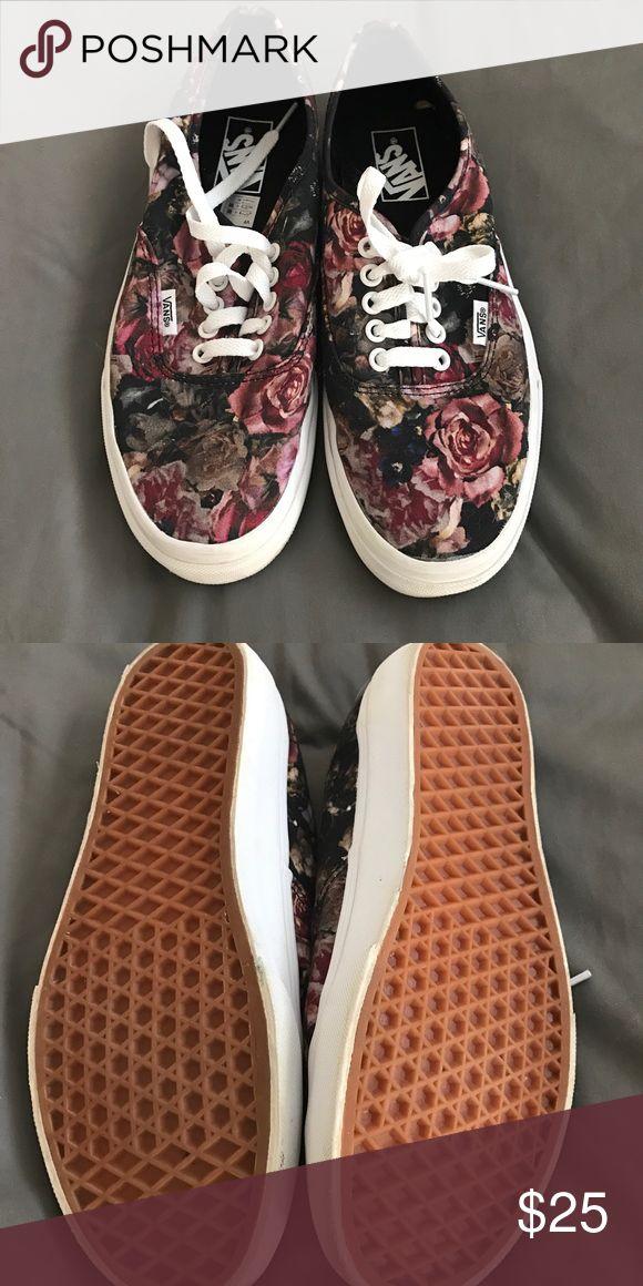 Vans tennis shoes Vans rose print tennis shoes. Brand new! Vans Shoes Sneakers