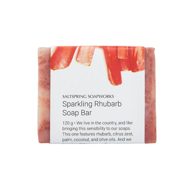 We live in the country, and like bringing this sensibility to our soaps.This one features rhubarb, citrus zest,palm, coconut, and olive oils. And we toss in a little oat bran for a nice deep scrub.