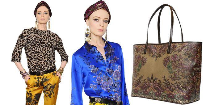 Ispirazione particolare quella di Etro. Senape con dettagli orientali, misti alla seta delle ampie camicie africane animalier e al turbante indiano.http://www.sfilate.it/229146/etro-africa-oriente-animalier-seta-blu-elettrico