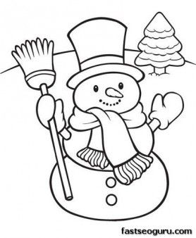 Printable happy snowman Christmas coloring pages - Printable Coloring Pages For Kids