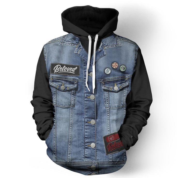 Denim Vest Black Hoodie from Beloved Shirts