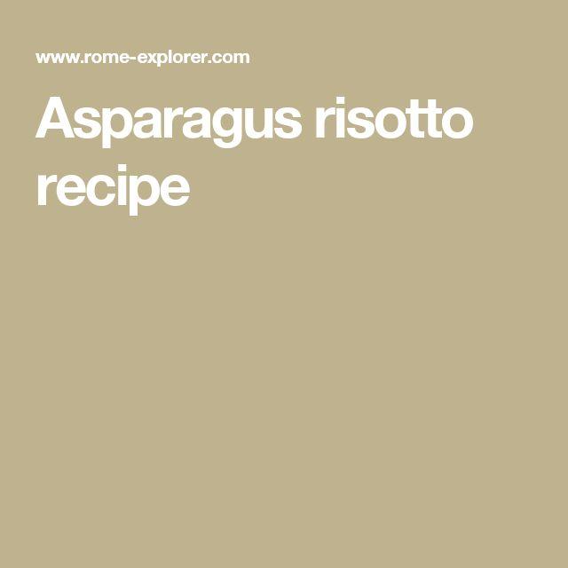 Asparagus risotto recipe