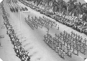 February 4, 1961 – The Portuguese Colonial War begins in Angola. Portuguese military parade in Luanda, Angola.
