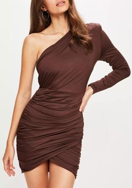 b56fc401e1a7 Coffee Asymmetric Shoulder Backless Irregular Long Sleeve Ruched Party Mini  Dress