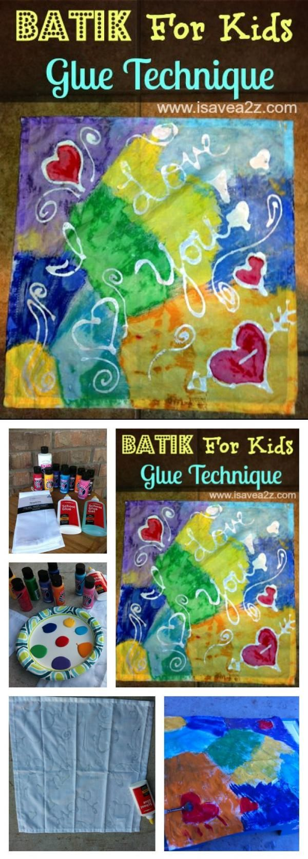 Batik For Kids Art Project Idea!  This one is done with Elmer's Glue. http://www.isavea2z.com/batik-for-kids-art-project/