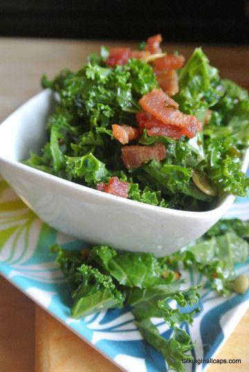 Kale with Bacon Vinaigrette Dressing | 52 Salads Challenge | Pinterest