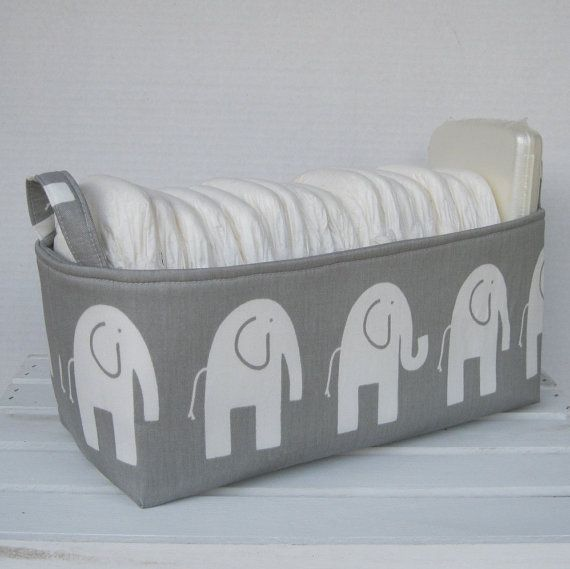 Long Diaper Caddy Storage Container Basket Fabric Organizer Bin   Nursery  Decor   Ele Elephant   Choose Fabric For The Outside And Inside