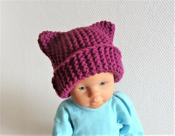 Baby Pussyhat Cat Beanie Chunky Knit Winter Animals Hat boy