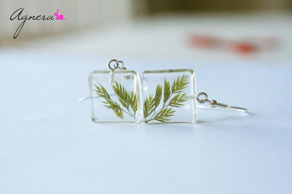 Resin earrings - Square earrings - Botanical jewelry - Green earrings - Herbs…