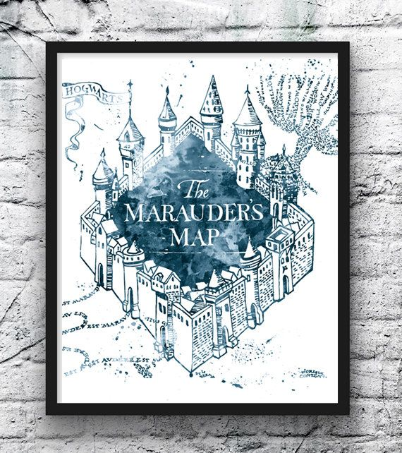 Kasteel Zweinstein aquarel Print, Harry Potter kunst, Zweinstein kaart, filmposter, kamer Decor, Kids Wall Art, Home Decor, kwekerij Art - 434
