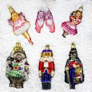 6 Piece Nutcracker Old World Christmas Glass Ornament Holiday Gift Idea