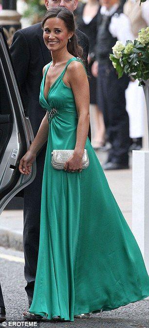 emerald green, jewelled waist, pippa definitely rocks this frock