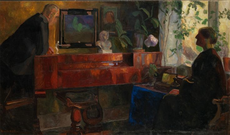 thorvald erichsen(1868-193), interior with the artists oluf and kris wold-torne, 1900-04. oil on canvas, 133.5 x 229 cm. nasjonalmuseet for kunst, arkitektur og design, norway